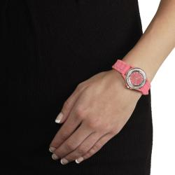 Tressa Women's Rhinestone-Accented Melon Silicone Watch