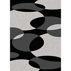 Brilliance Circles Black/ Grey Area Rug (5'5 x 7'7)