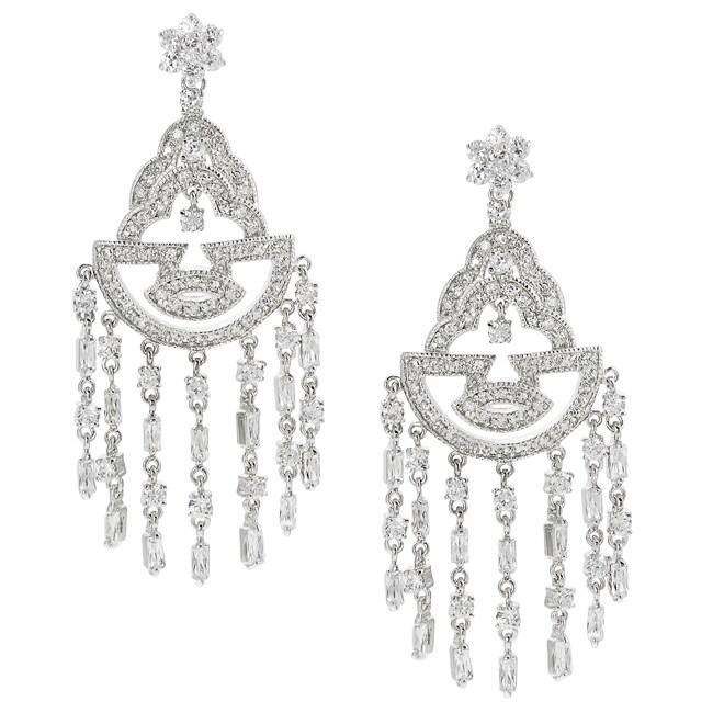 Tressa Silvertone Cubic Zirconia Dangle Earrings