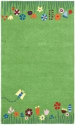 Handmade Children's Summer Grass Green N. Z. Wool Rug (5' x 8')