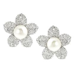 Journee Collection Silvertone CZ Faux Pearl Stud Earrings