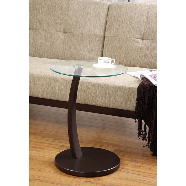 Cappuccino Bentwood Accent Table with Tempered Glass 8401524