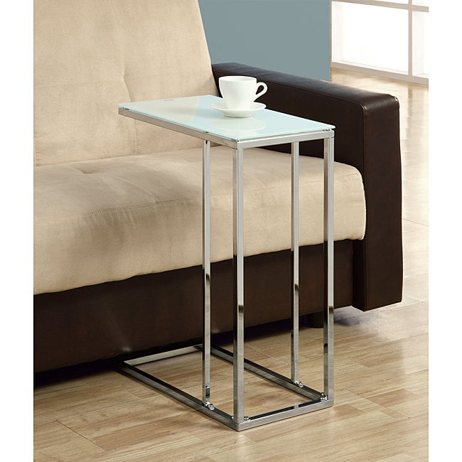 Chrome Metal Accent Table with Tempered Glass