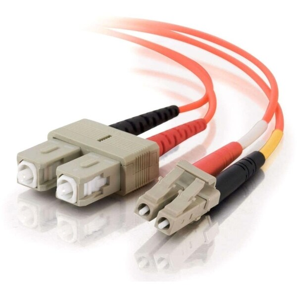 1m LC-SC 50/125 OM2 Duplex Multimode Fiber Optic Cable (Plenum-Rated)