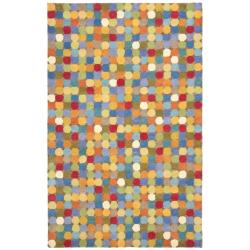 Handmade New Zealand Wool Dots Brown Rug (5'x 8')