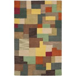 Handmade New Zealand Wool Deco Square Rug (5' x 8')
