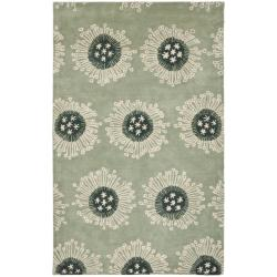 Safavieh Handmade Celebrations Light Blue Grey N. Z. Wool Rug (7'6 x 9'6)