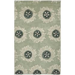 Handmade Celebrations Light Blue Grey N. Z. Wool Rug (3'6 x 5'6')