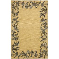 Safavieh Handmade New Zealand Wool Floral Border Gold Rug (3'6 x 5'6')