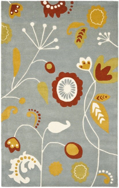 Safavieh Handmade New Zealand Wool Bliss Light Blue Rug (7'6 x 9'6)
