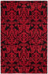 Handmade New Zealand Wool Minna Black/ Red Rug (7'6 x 9'6)