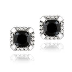 Glitzy Rocks Sterling Silver 3 1/2ct TGW Square Black Spinel Stud Earrings