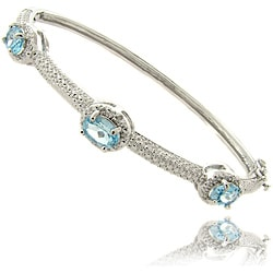 Dolce Giavonna Silver Overlay Blue Topaz and Diamond Accent Bangle Bracelet