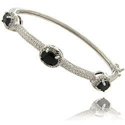 Dolce Giavonna Silver Overlay Sapphire and Diamond Accent Bangle Bracelet