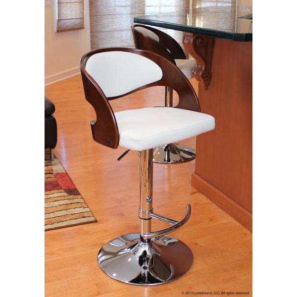 Pino Mid-century Modern Cherry Wood Adjustable Barstool