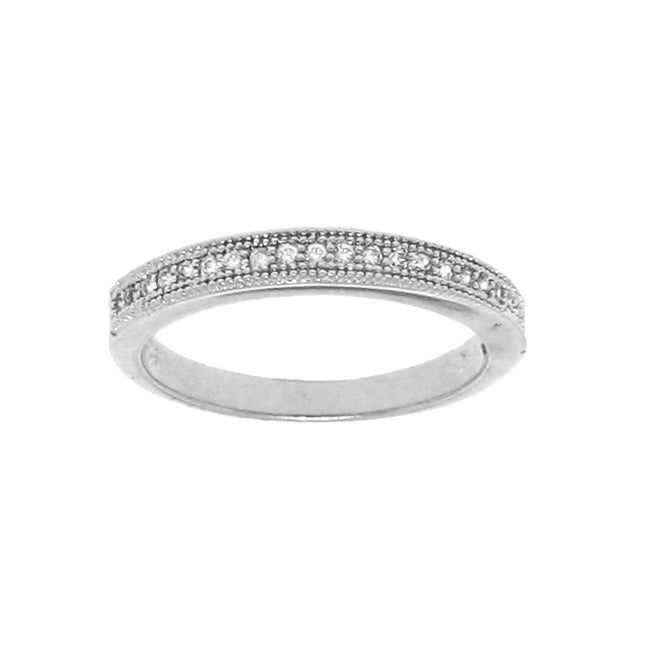 Sterling Silver Stackable Cubic Zirconia Pave Eternity Band