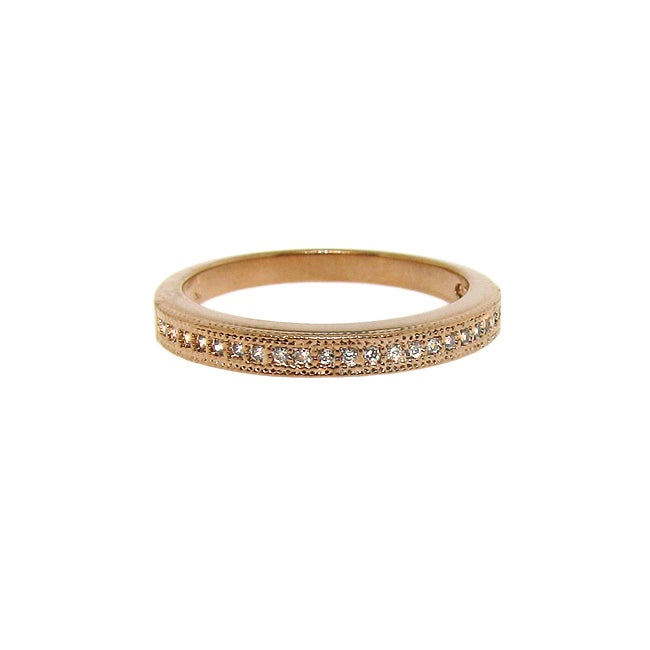 10k Rose Gold over Silver Clear Cubic Zirconia Stackable Eternity Band