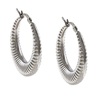 La Preciosa Stainless Steel Ribbed Design Hoop Earrings