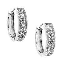 Sterling Silver Clear Cubic Zirconia Petite Pave Hoop Earrings