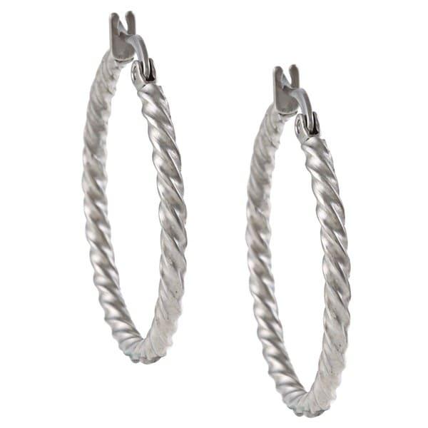 La Preciosa Stainless Steel 2mm Twisted Hoop Earrings