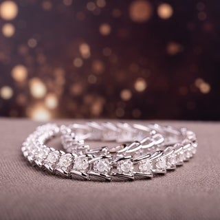 Miadora 2ct TDW Round-Cut Diamond Tennis Bracelet in Sterling Silver - White