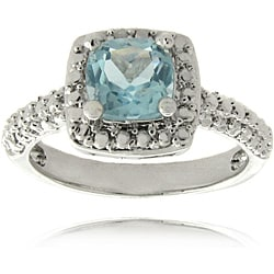 Dolce Giavonna Silver Overlay Blue Topaz and Diamond Accent Square Ring