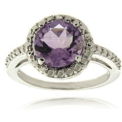Dolce Giavonna Silver Overlay Amethyst and Diamond Accent Ring