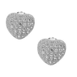 Sterling Silver Cubic Zirconia High Polish Pave Heart Earrings