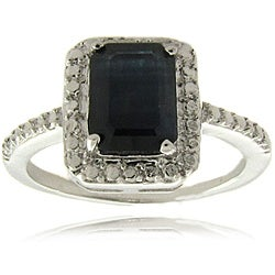 Dolce Giavonna Silverplated Sapphire and Diamond Accent Ring