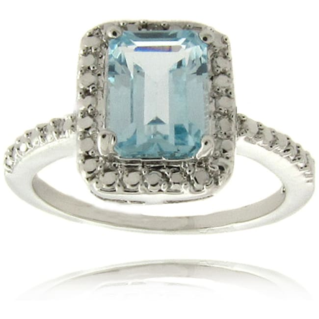 Dolce Giavonna Silverplated Blue Topaz and Diamond Accent Ring