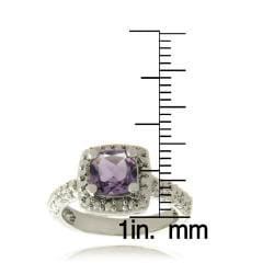 Dolce Giavonna Silverplated Amethyst and Diamond Accent Square Ring