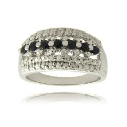 Dolce Giavonna Silver Overlay Sapphire and Diamond Accent Stripe Ring