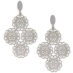 La Preciosa Stainless Steel Floral Dangle Earrings