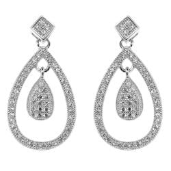 Sterling Silver Clear Cubic Zirconia Teardrop Earrings