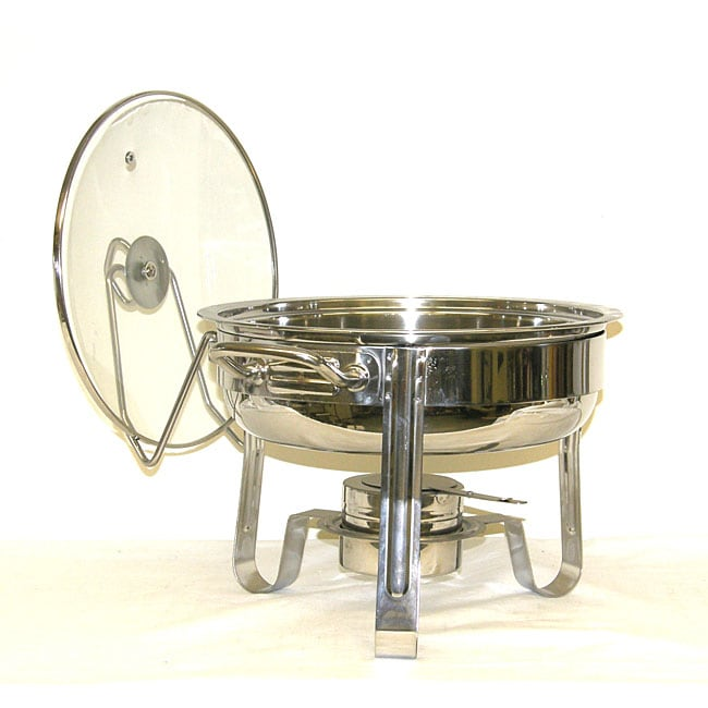 Mega Cook Four Quart Stainless Steel Round Chafing Dish with Glass Lid
