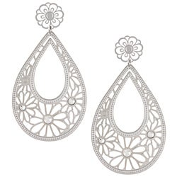 La Preciosa Stainless Steel White Crystal Filigree Earrings