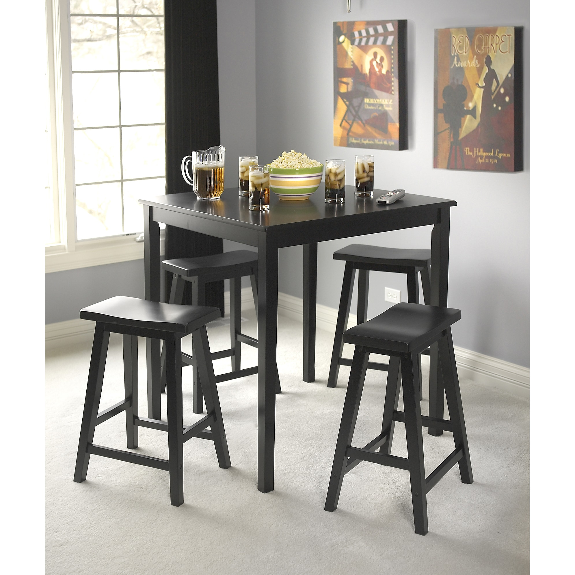 Simple Living Black Belfast 5-piece Saddle Dining Set