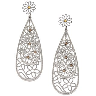 La Preciosa Stainless Steel Yellow Crystal Double Teardrop Earrings