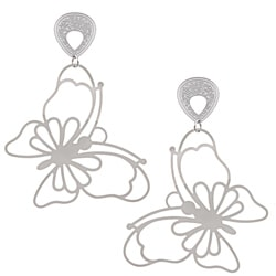La Preciosa Stainless Steel Large Butterfly Earrings