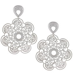 La Preciosa Stainless Steel Large Flower Earrings