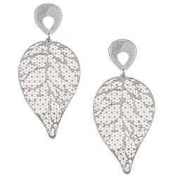 La Preciosa Polished Stainless Steel Cut-out Leaf Dangle Earrings