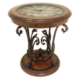 Casa Cortes Designer Round Clock Coffee and End Table
