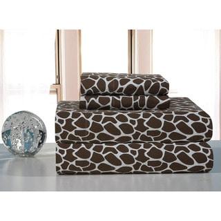 Chocolate Giraffe Flannel Bed Sheet Set