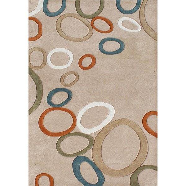 Alliyah Handmade Beige New Zealand Blend Wool Rug (5 x 8)