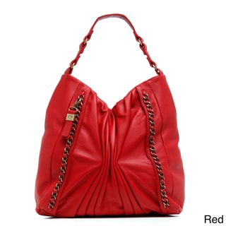 B-Collective Leather Ruched Medium Tote