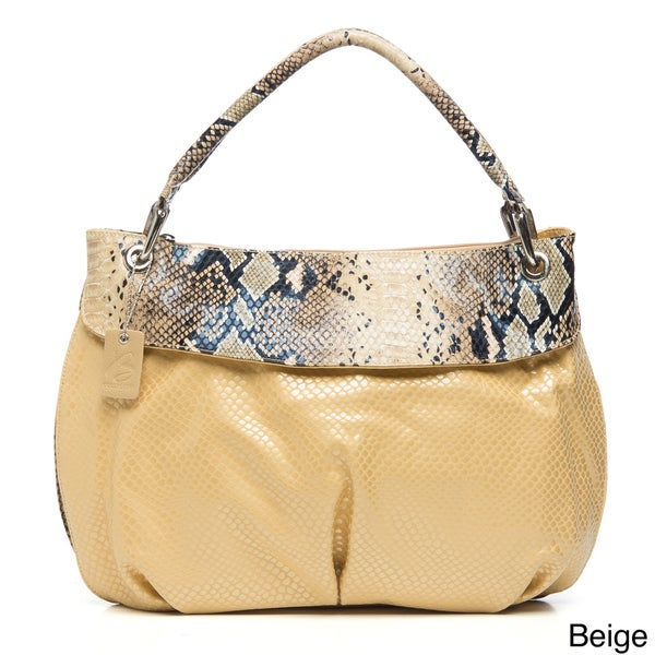 B-Collective's Embossed Snake Print Satchel Handbag