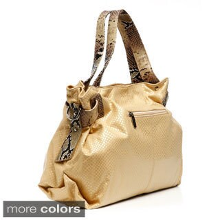 B-Collective's Embossed Snake Print Trim Tote