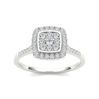 De Couer 10k White Gold Diamond Halo Engagement Ring (H-I, I2)