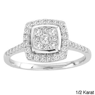 De Couer 10k White Gold TDW 1/2ct Diamond Halo Engagement Ring (H-I, I2) with Bonus Necklace