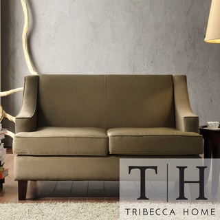 TRIBECCA HOME Winslow Taupe Concave Arm Modern Loveseat